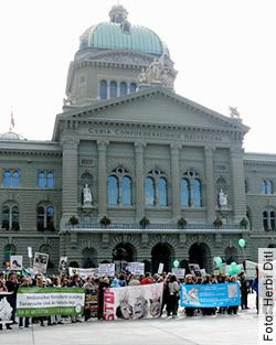 Demostopp vor dem Bundeshaus in Bern