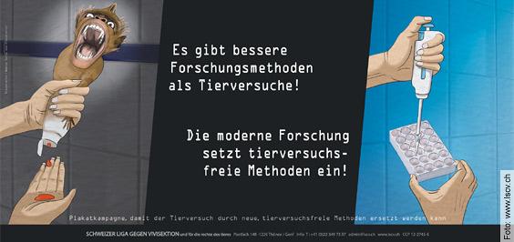 «Verdammte Forschung?» (Forschung für Leben) - Plakat der SLGV (Schweizer Liga gegen Vivisektion)